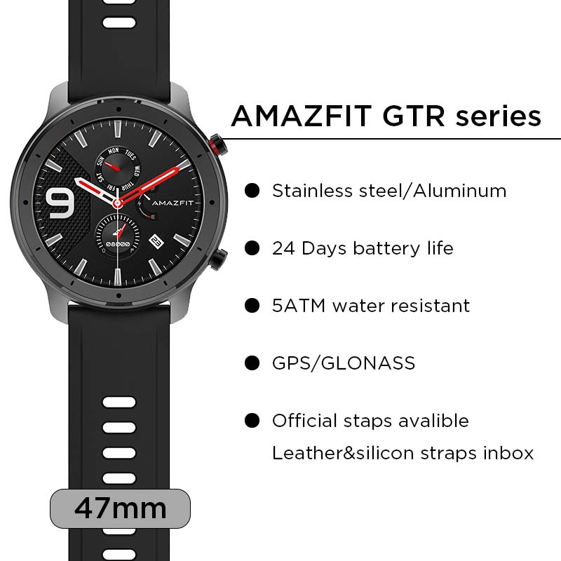 Image 2 - In Stock New 2019 Amazfit GTR 47mm Smart Watch 24Days Battery 5ATM Waterproof Smartwatch Music Control Global Version-in Smart Watches from Consumer Electronics