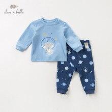 DBH11353 dave bella/пижамный комплект для детей; Осенняя домашняя одежда для мальчиков; одежда для сна с длинными рукавами и рисунком