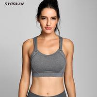SYROKAN Womens High Impact Padded Sports Bra Full Coverage Underwire Gym Racerback Workout Bras