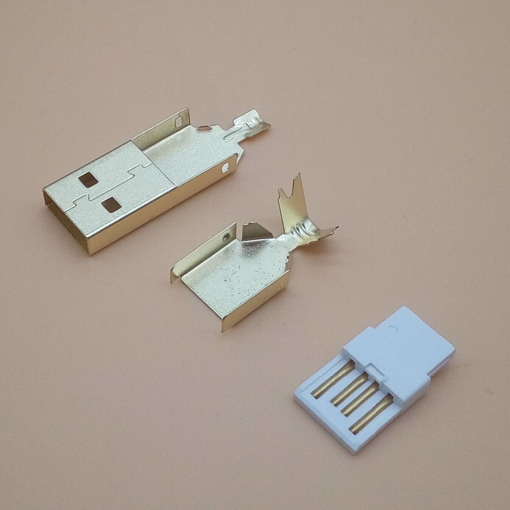 50set Gold Plated USB 3 In 1 DIY Male Plug Socket A Type DIY Soldering Wire 2.0 Usb Connector