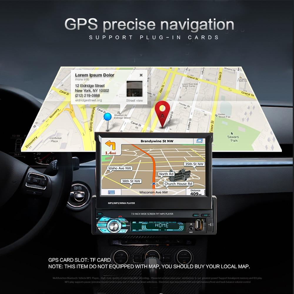 Podofo One din Car radio MP5 Player GPS Navigation Multimedia car audio stereo Bluetooth 7 HD Retractable Autoradio AUX-IN FM (2)