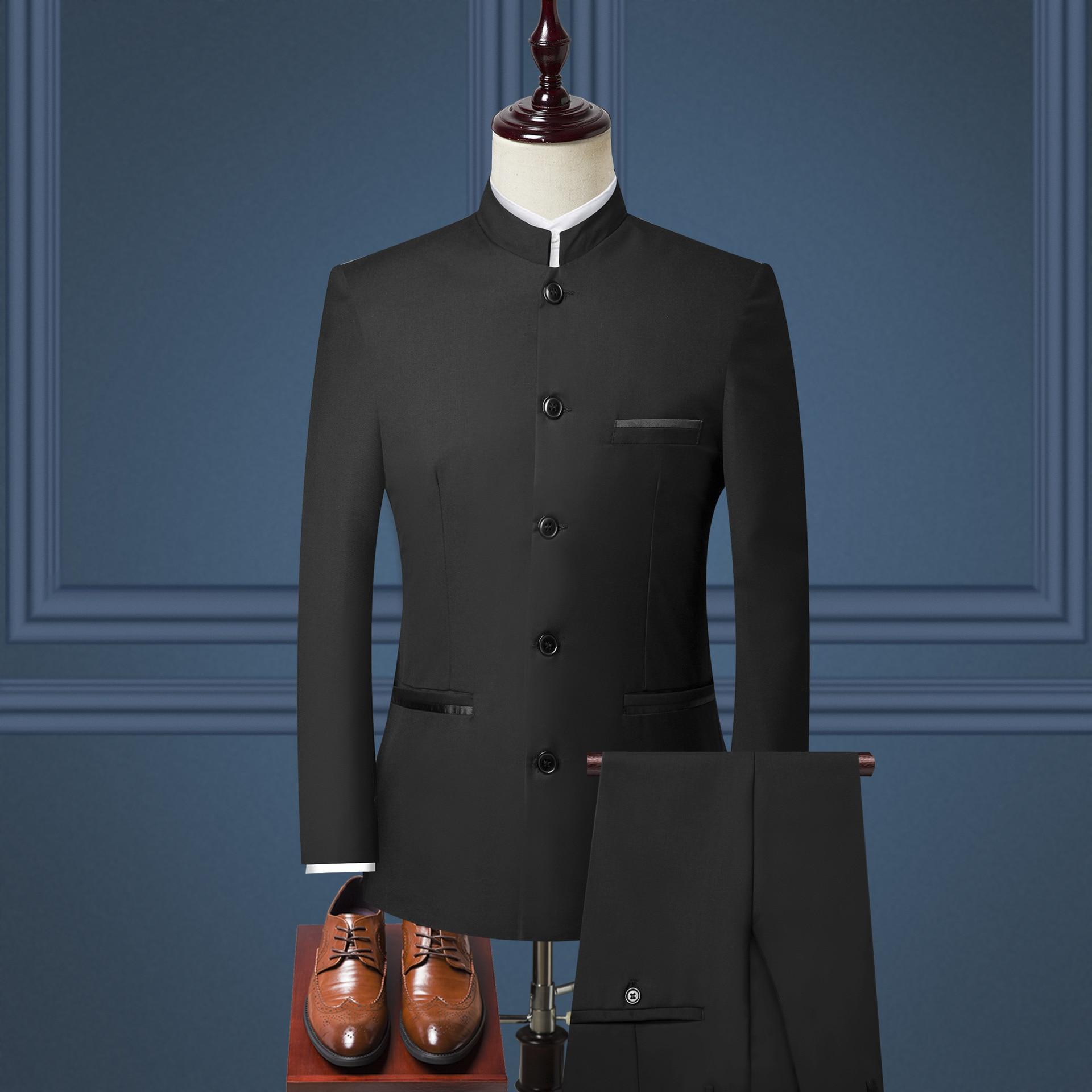Men's Korean-style Slim Fit Sun Yat-sen Costume Formal Dress Suit Chinese Costume Set Three-piece Set Men's
