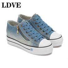 Platform Sneakers Shoes For Woman 2019 New High Heels Chunky Causal Female Blue Women Top Cool Street