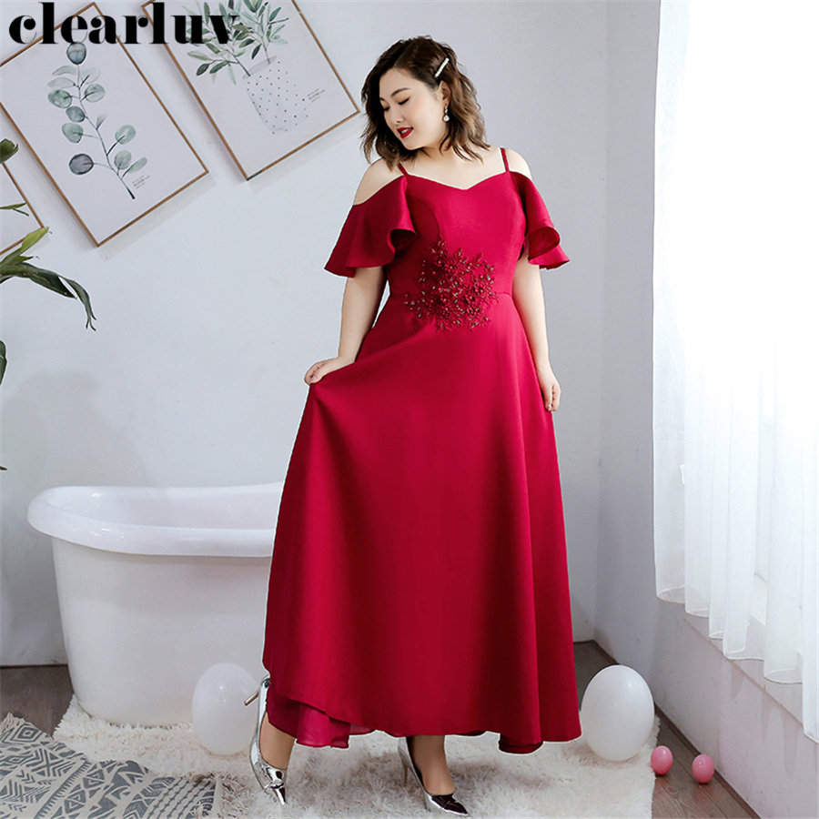 Sling Evening Gowns Long Elegant Robe De Soiree T242 2019 New Plus Size Boat Neck Women Party Dresses Crystal Flowers Prom Dress