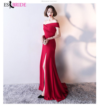 Red Elegant Evening Dresses Boat Collar  Formal Lace Short Sleeve 2019 Cheap Women Formal Party Gowns