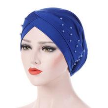 New Women Elastic Turban Hat Muslim Hijab Islamic Beads Cancer Chemo Cap Ladies Hijab Stretch Hijab Cap Muslim Scarf