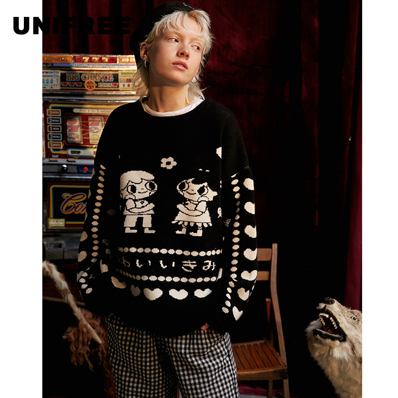 UNIFREE 2009 Autumn Dress New Style Woman Round-collar Long Sleeve Loose Children's Fun Printed Pullovers U193K001BY