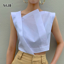 VGH Irregular Perspective Short Women's Shirt Skew Collar Sleeveless Summer Eleg