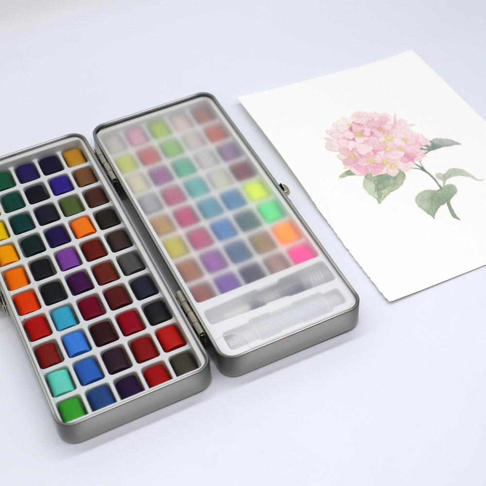 New 90Color Solid Watercolor Paint Portable Basis Pearl Neone Watercolor Watercolor Set For Painting Art Supplies