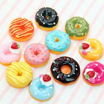 10 개/대 귀여운 미니 캔디 도넛 인형 음식 척 플레이 인형 집 액세서리 소형 홈 크래프트 장식 케이크 키즈 주방 완구