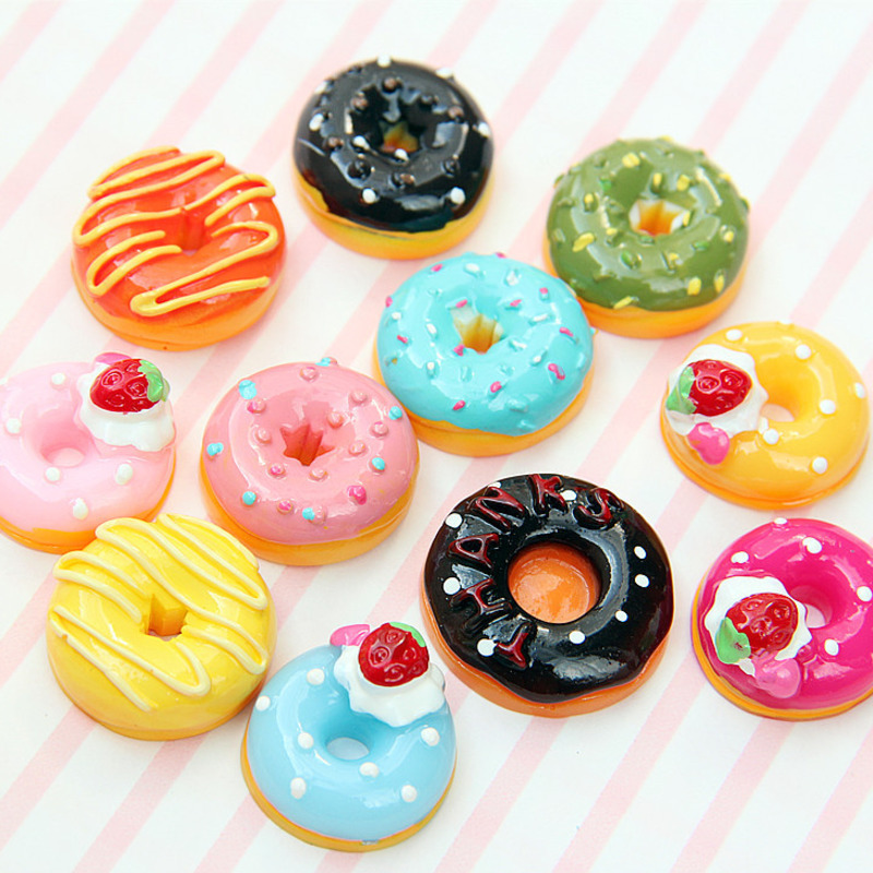 10Pcs/Set Cute Mini Candy Donut Doll Food Pretend Play Dollhouse Accessories Miniature Home Craft Decor Cake Kids Kitchen Toys