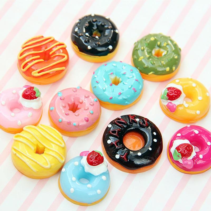 10Pcs/Set Cute Mini Candy Donut Doll Food Pretend Play Dollhouse Accessories Miniature Home Craft Decor Cake Kids Kitchen Toys