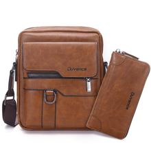 "Business Men Bag for 10.5"" ipad PU Leather Flaps For Men Shoulder Bags Travel Brown Crossbody Bag Male Solid Messenger Bags"