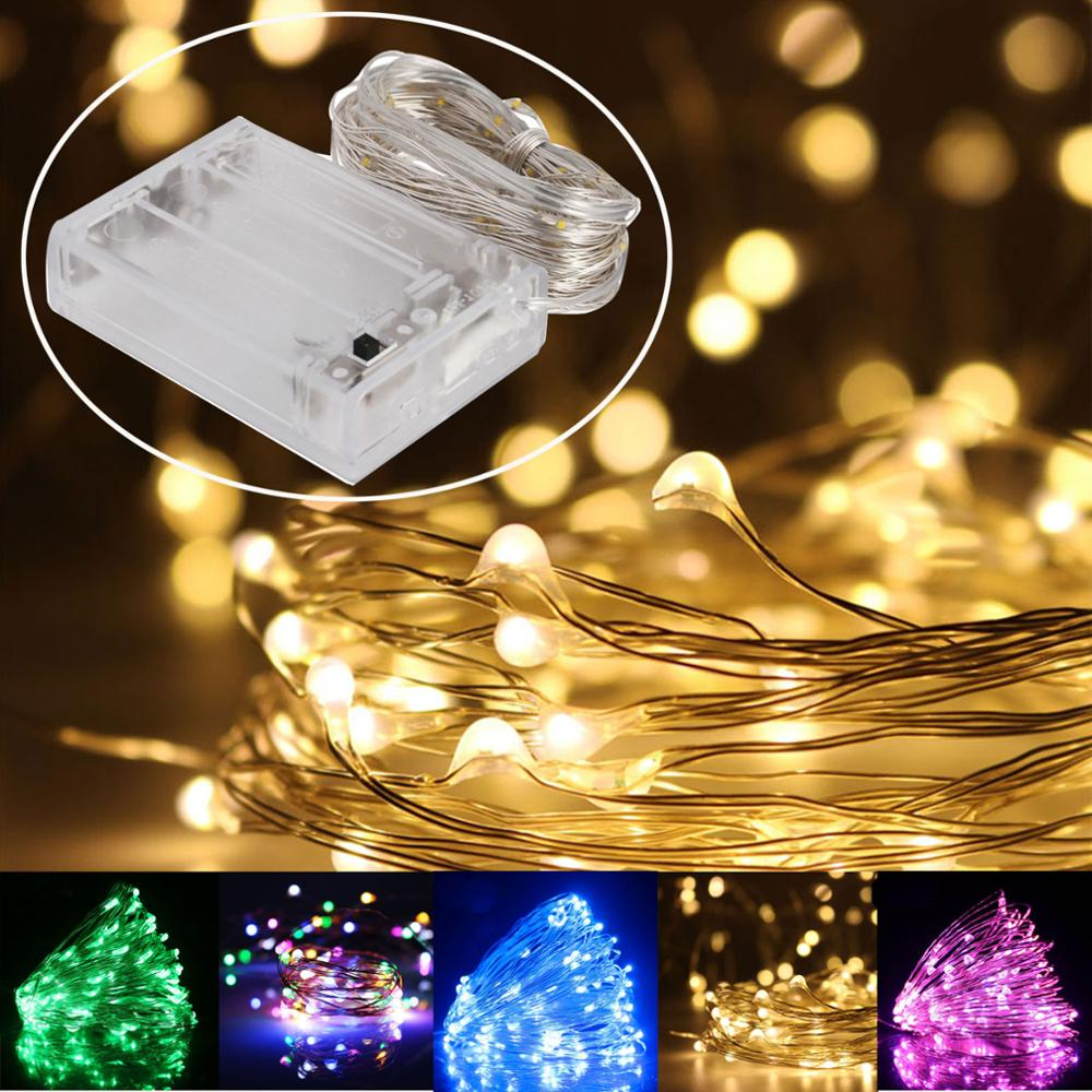 LED Copper Wire String 1M 2M 3M 4M 5M 6M 7M 8M 9M 10M Lampada Christmas Holiday Wedding Party Decor Lights Lamps AA Battery