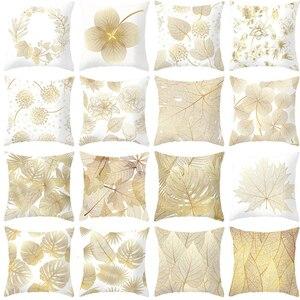 Golden Flowers Leaves Cushion