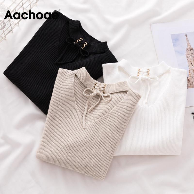 Hollow Out Sexy Women Sweaters Autumn Winter Knit Pure Pullover Lace Up Bodycon Top Solid Casual Long Sleeve Cashmere Jumper
