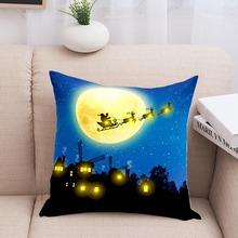Cushion Cover LED Light Up 45x45cm Soft Christmas Decoration for Office Car Cafe GHS99