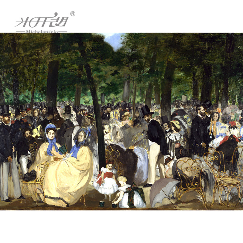 Michelangelo Wooden <font><b>Jigsaw</b></font> <font><b>Puzzles</b></font> 500 1000 <font><b>1500</b></font> <font><b>Piece</b></font> Edouard Manet Music in the Tuileries Gardens Painting Art Educational Toy image