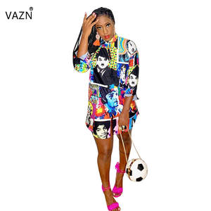 VAZN T-Shirt Dress Button Colors Full-Sleeve Sexy Lady Summer Character YC1895 Special-Product