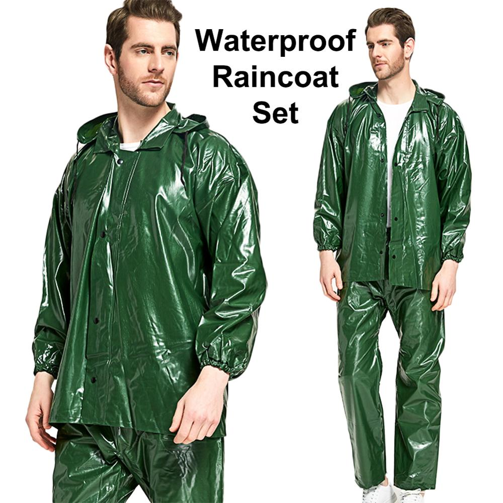 Waterproof Raincoat  Men Lightweight  Rain Suit For Cycling Motorcycle Travel Outdoor Camping Hooded Ponchos Plastic Rain Cover