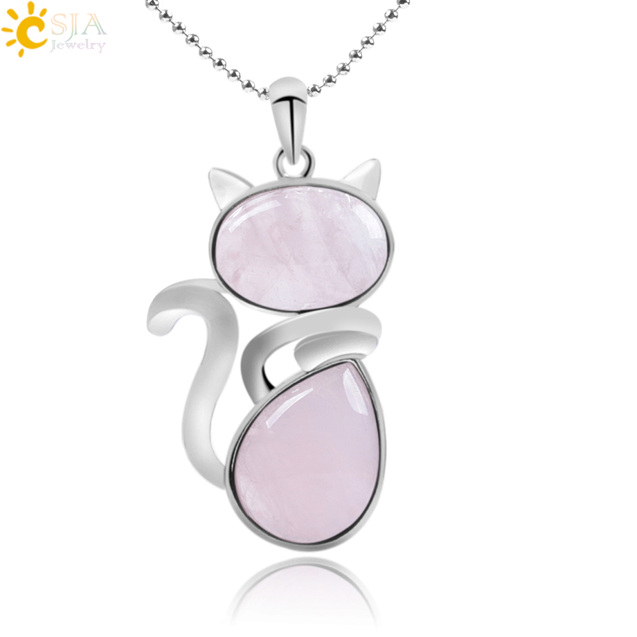 CSJA Reiki Natural Stone Necklaces Pink Quartz Pendants for Women Girl Cute Cat Shape Rock Black Onyx Beads Chain Jewelry F066