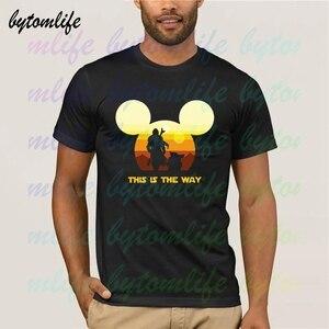 Boba Fett And Baby Yoda, футболка с принтом «The Way Sun Head» и «Микки Маус», мужская летняя черная футболка из 100% хлопка с короткими рукавами, футболка унисе...