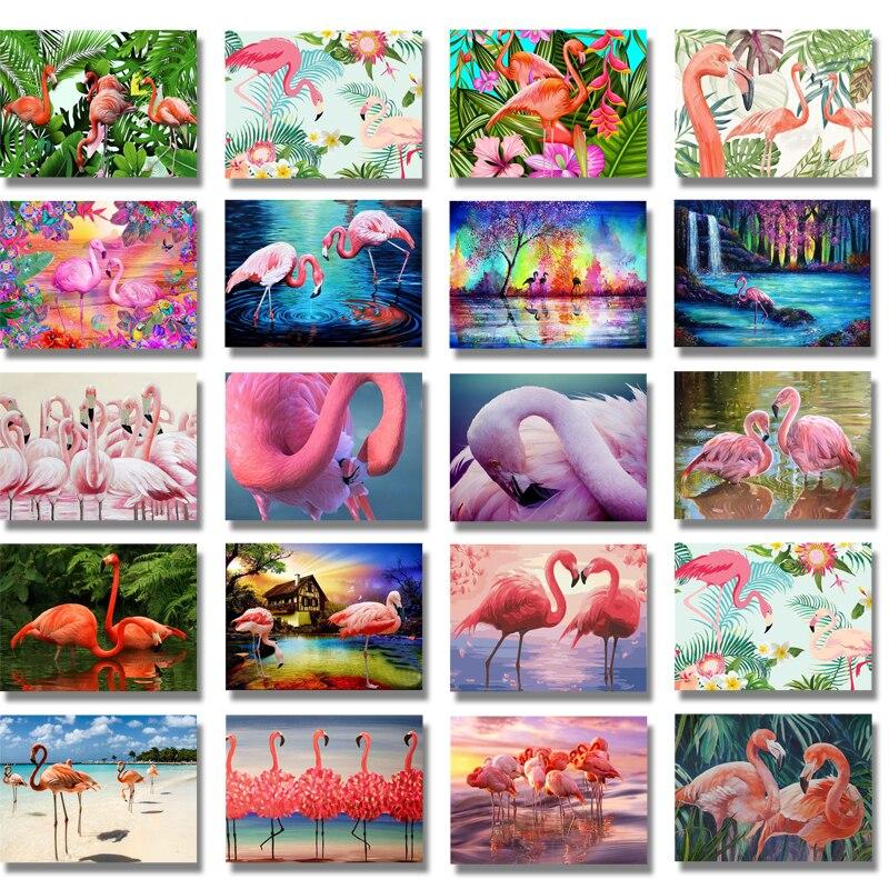 Broca completa Pintura Diamante Redondo Flamingo Animal Bordado Diamante Mosaico Pinturas Pássaros Fotos De Diamante Presente Do Amante Da Arte Da Parede