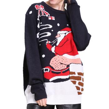 Dzianinowy Tacky Santa Pooping brzydki świąteczny sweter dla kobiet śmieszne panie brzydki świąteczny sweter Party dzianinowy sweter Xmas Jumper tanie i dobre opinie OBVSBUYS 100 Acrylic Akrylowe STANDARD Kobiety Komputery dzianiny Pełna Stałe Brak O-neck Swetry REGULAR Na co dzień