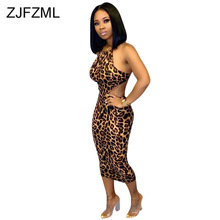 Sexy Cross Backless Leopard Dress Women Spaghetti Strap Waist Band Cut Out Bandage Dress Bodycon Party Maxi Package Hip Dress two tone cut out maxi dress
