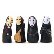 4 pz/set Cartoon 3.7cm Spirited Away No Face Man PVC Action Figure Model Toys Anime No Face Man collezione di personaggi regali