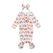 Headband Sleepwear Newborn Baby-Girls-Boys Print 2pcs Nightwear Ruffles