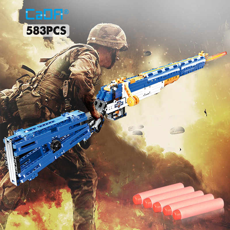 583pcs Boys' DIY Block Rifle Toys Weapons Bluiding Gun Model Caliber M1 Blocks Gun Toys Assembled Bricks Blocks For Children