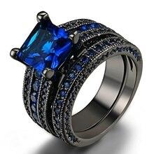 Trendy Frauen Ring Set Mode Schwarz/Blau Zirkon Ringe Für Frauen Schmuck Zubehör Hochzeit Engagement Party Geschenk