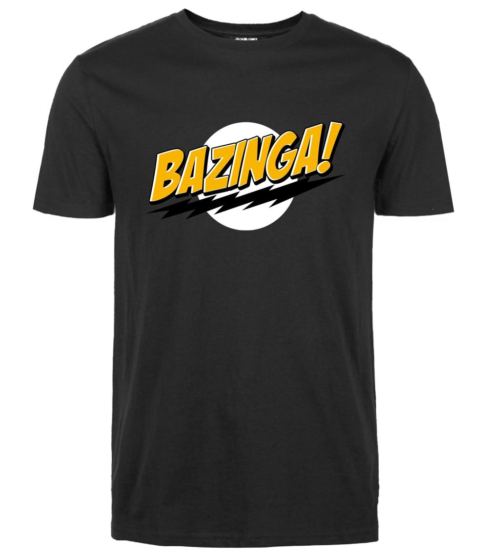 The Big Bang Theory Bazinga Tshirt Funny Men T Shirt 2019 Summer Streetwear Tops Tees Short Sleeve Cotton Black Print Shirts