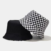 Hats Cap Bucket-Hat Fisherman-Hat Plaid Hip-Hop Black White Flat Fashion-Design Autumn