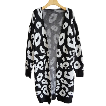 Winter Fashion Woman Sweaters Long Sleeve Leopard Print Knitted Cardigan Sweater Coat Tops Women Clothing Plus Size  2018 New 5