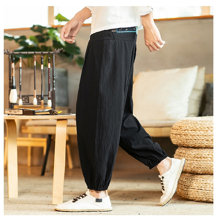 Sinicism Store Chinese Cross-Pants Men 2020 Autumn Oversize Fashion Mens Patchwork Button Pants Male Wide-legged Loose Pants 51