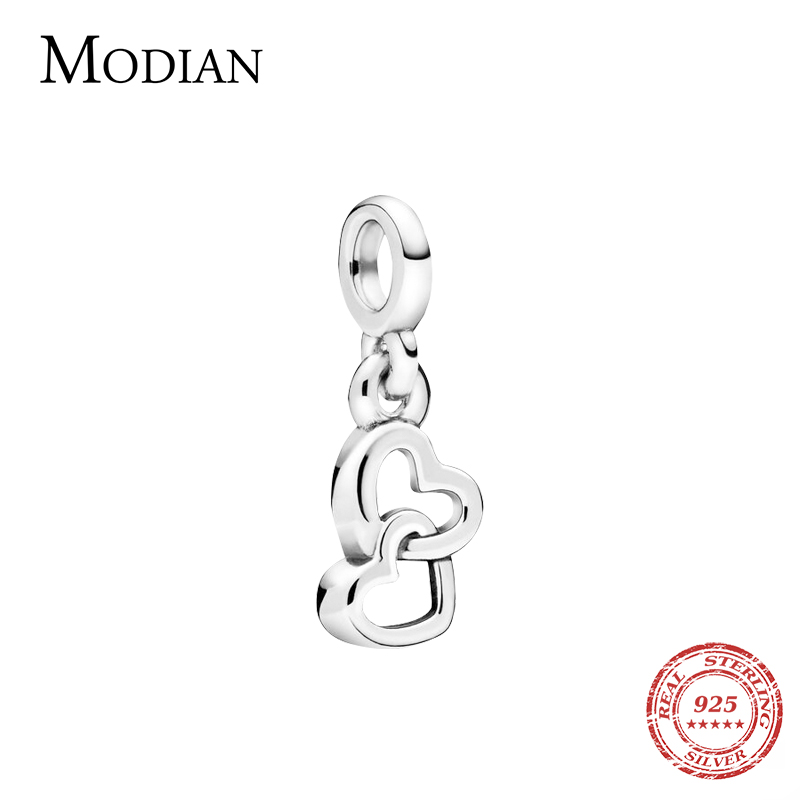 Modian Double Hearts Fashion Tiny Charms Real 925 Sterling Silver Charm Fit ME Bracelet & DIY Jewelry For Women Valentine's Day