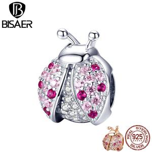 BISAER Zircon 925 Sterling Silver Cubic Zircon Insect Ladybug Charms Beads fit Original Bracelets 925 Silver Jewelry ECC1120(China)