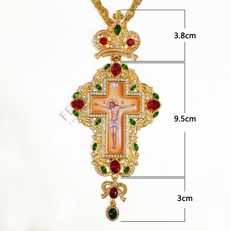 Где купить Высокое качество, крестины, ортодоксальные Иисуса подвески-кресты, стразы, цепь, Религиозные ювелирные изделия, молитва пастора
