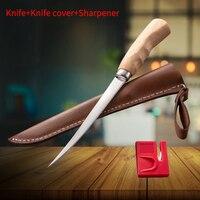 스테인레스 스틸 낚시 나이프 주방 뼈 고기 생선 초밥 칼 과일 야채 나이프 커버 숫돌과 도구를 절단|주방 칼|   -