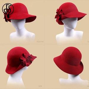 Image 4 - FS VINTAGE Red Church หมวกผู้หญิงฤดูหนาวผ้าขนสัตว์กว้าง Brim Fedoras สุภาพสตรีสีฟ้าสีดำ Fedora ดอกไม้ Bowler Felt Cloche หมวก