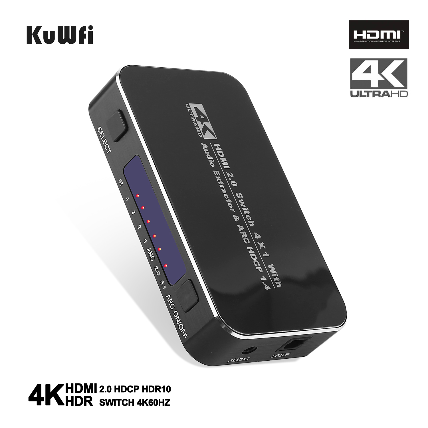 HDMI Splitter 4 Input 1 Output Adapter 4 Port HDMI Splitter Cable Switch Switcher 4K 2.0 Audio Extractor ARC & IR Control