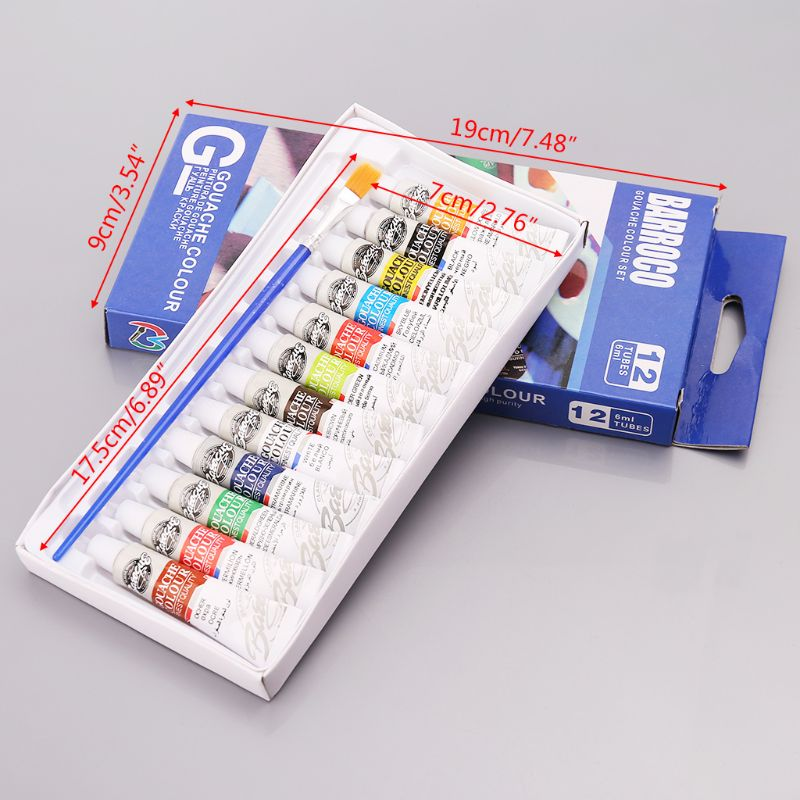 12Pcs 6ml Gouache Color Pigment Painting Tubes With Brush Professional Drawing Art Supplies Set