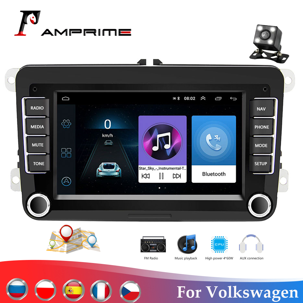 AMPrime Car Multimedia Player Android 8.1 For Volkswagen/Golf/Polo/Passat/b7/b6/SEAT/leon/Skoda 2Din Car Autoradio Radio Camera