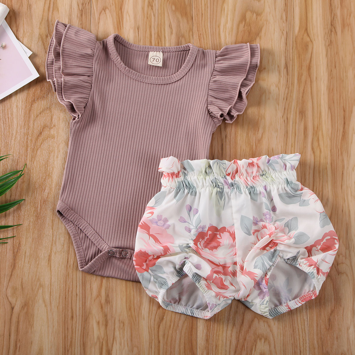 Pudcoco Newborn Baby Girl Clothes Solid Color Knitted Cotton Romper Tops Flower Print Short Pants 2Pcs Outfits Clothes