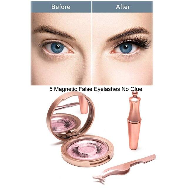 ขนตาปลอม 5Dอายไลเนอร์แม่เหล็กคู่ชั้นขนตาปลอมแม่เหล็กไม่มีกาวธรรมชาติขนตาปลอมEXTENSION
