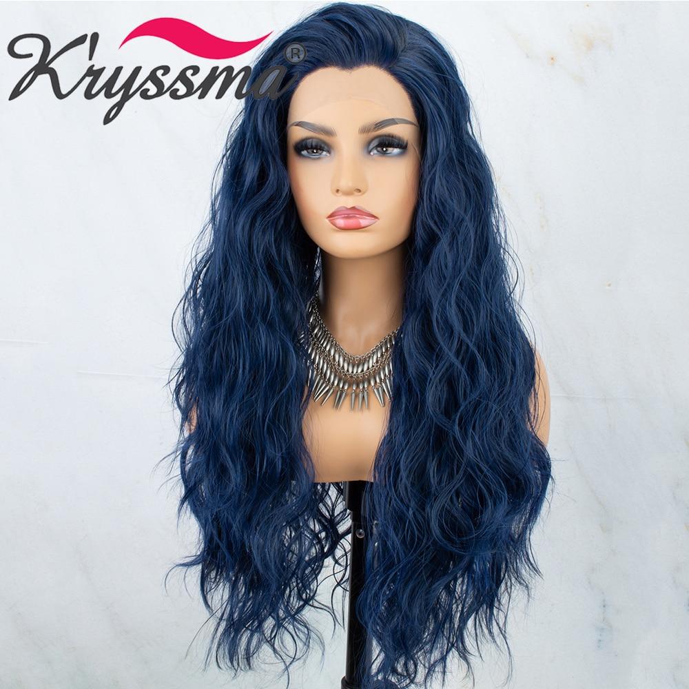 Kryssma 13x3 кружевной волнистый синий синтетический Синтетические волосы на кружеве парики для чернокожих Для женщин длинный парик для косплея...