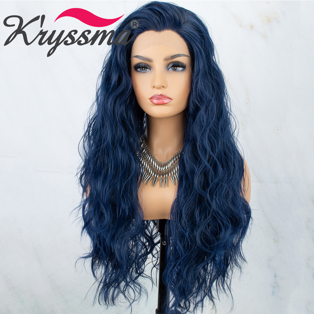 Kryssma 13x3 Lace Wavy Blue Synthetic Lace Front Wigs For Black Women Long Cosplay Wig High Temperature Fiber Lace Front Wig image