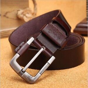 Image 3 - جديد حزام للرجل مصنع جلد طبيعي جلد البقر جلد البقر الرجال عارضة دبوس مشبك نوعية جيدة الذكور حزام ل الجينز الدنيم Vintage